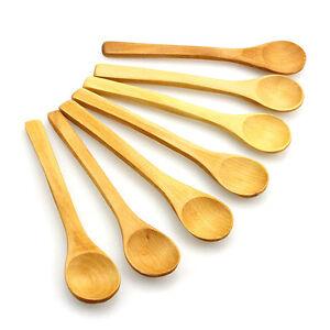 6x Mini Nature Wooden Cooking Spoons Scooper Condiments Teaspoon Kids Utensils