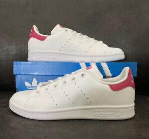 Adidas Stan Smith J Big Kid's Shoes White-Bold Pink b32703 Size 4.5
