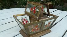 Antique Edwardian Hand Painted Glass Trinket Box