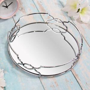 26cm Mirrored Round Gatsby Style Silver Trinkets Ornament Tray Centrepiece Decor