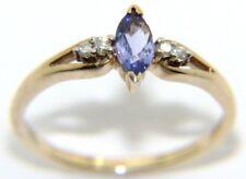 DONNE 9ct 9 carati oro giallo taglio Marquise ANELLO AMETISTA & Diamante