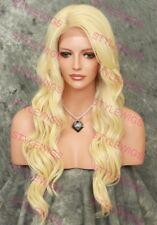Light Blonde Long Layered Wavy Lace Front Heat Safe Synthetic Hair Wig SALA 613