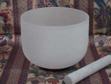 PERFECT PITCH NEW FROSTED QUARTZ CRYSTAL SINGING BOWL 14'' F HEART CHAKRA