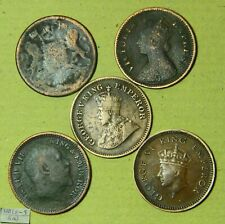 BRITISH INDIA 1/2 PICE COINS COLLECTION - VINTAGE COPPER COINS - 5 COINS LOT