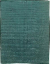 Contemporary Green Hand Knotted Silk Rug N11095