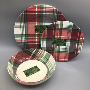 12pc Tommy Bahama Tartan Plaid Melamine Dinner Salad Plate Bowl Set Red *flaw*
