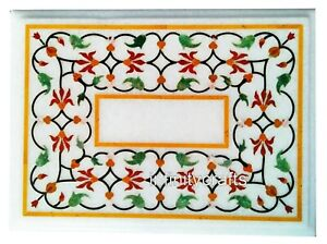 24 x 30 Inches Marble Coffee Table Top Inlay Semi Precious Gemstone Center table