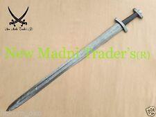 """38"""" DAMASCUS NEW DESIGN BLACK BULL HORN HANDLE HANDMADE VIKING SWORD"""