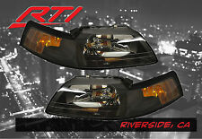 99-04 Ford Mustang Black Headlights w/Amber Reflector SVT Cobra Convertible GT