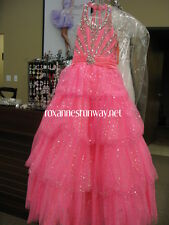 Perfect Angels 1521 Hot Pink Girls Pageant Gown Dress sz 4
