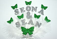 Personalised Double name Engagement or Wedding Butterfly  Feathered Cake Topper.