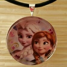 """ELSA & ANNA"" Disney's Frozen. Glass Pendant with Leather Necklace"
