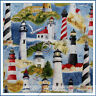BonEful Fabric FQ Cotton Quilt Scenic Lighthouse Beach Bird VTG Seagull Red Blue