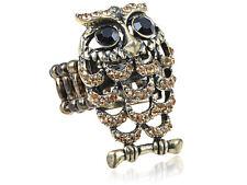 Topaz Color Clustered Crystal Rhinestone Brown Happy Adjustable Hooting Owl Ring