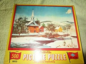 Vintage Built-Rite Picture Jigsaw Puzzle (Church By The Stream) 500 Pieces