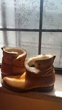 Frye shearling-lined leather boots for sale, in soft tan, women's size 6