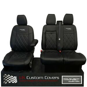 FORD TRANSIT CUSTOM 2013+ TAILORED LEATHERETTE FRONT SEAT COVERS & LOGO 602