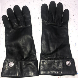 COACH BLACK 100% LEATHER GLOVES, 100% SILK LINING, Size 7