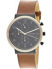 Skagen Men's 40mm Chrono Ancher Brown Leather Strap Watch SKW6400 NEW!  $195.00