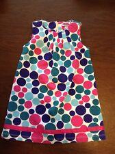 Hartstrings Toddler Girls Pink/Green/Teal Polka Dot Jumper Dress Sz 4T