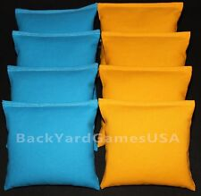 All Weather Cornhole Bean Bags Turquoise & Yellow Resin Filled Waterproof