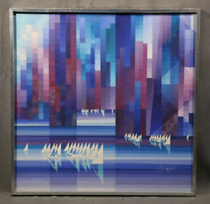 Modern Colorful Abstract Geometric Acrylic Painting Optic Art Vintage Design