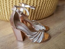DOLCIS SANDALS Gold Metallic Party Wedding Strappy Going Out UK 3 / EUR 36 - VGC