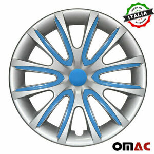 """14"""" Inch Hubcaps Wheel Rim Cover For Honda Gray With Blue Insert 4pcs Set"""