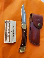Vintage Buck 110C USA Lockback Folding Knife with Leather Sheath Unused