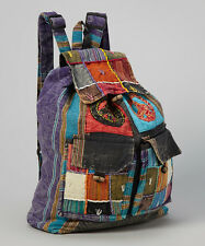 Peace Sign PATCHWORK Denim Boho Bohemian Hippie Gypsy BACKPACK School Book Bag
