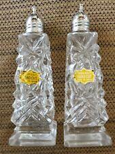 Vintage Hand Cut Crystal Salt & Pepper Shakers Made in Japan