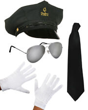 4 PC CHAUFFEUR CAP FANCY DRESS LIMO TAXI DRIVER COSTUME HAT GLASSES GLOVES TIE