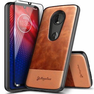 For Motorola Moto Z4/Z4 Play Case Shockproof Leather Phone Cover +Tempered Glass