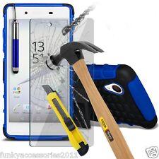 A Prueba De Golpes Doble Capa Carcasa Teléfono ✔ ✔ Protección de pantalla de cristal Sony Xperia XA