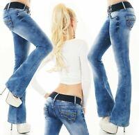 Women's bootcut jeans flare pants 5-pocket denim stretch blue belt XS S M L XL