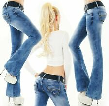 Women's bootcut jeans flare pants 5-pocket denim stretch blue belt XS S M L XL