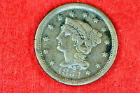 Estate  Find 1854 BRAIDED HAIR Large Cent!! #G8496