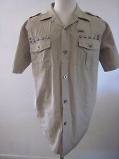 Ablanche Khaki Metal studded Military Style Button Front Shirt Size L
