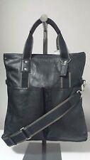 Coach Men's Heritage Web Leather Foldover Black Tote F70558