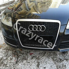 RS6 Style Silver Frame Front Mesh Grille Grill for Audi A6 C6 S6 2005-2011
