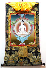 """35"""" Mineral Color Buddhist Thangka - BY Practicing Meditation Into Rainbow Body"""