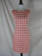 Vtg 50s 60s Pink Plaid Cotton Womens Vintage Cocktail Wiggle Dress W 28