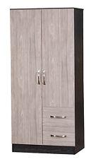 2 Door Wardrobe %7c 2 Drawers Combi %7c Grey Oak High Gloss & Black Ash