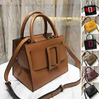 Real Leather Oversize Leather Buckle Belt Shoulder Bag Crossbody Purse 2 Handles