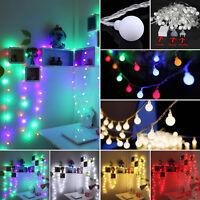 LED Party Lichterkette Außen 40/100 Kugeln Gartenbeleuchtung Bunt Außen 20M 10M