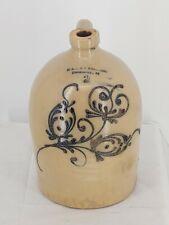 Early BURLINGTON VERMONT Stoneware Jug 2 Gallon OL & AK BALLARD 1800's RARE !!