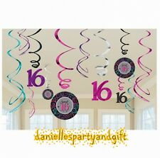 Celebrate Sweet 16 Hanging Dangling Foil Swirl Decorations (12 Pieces) - 670416