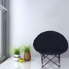 Oversize Foldable Padded Moon Chair Black Steel Frame 600D PVC 87.5x80x62cm