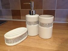 WHITE DIAMANTE 3 PC BATHROOM ACCESSORY SET CERAMIC SOAP DISPENSER SOAP DISH & TU