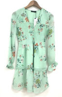 Influence Floral Dress Size 12 Mint Green Tea Shirred Button Detail Dress GD02